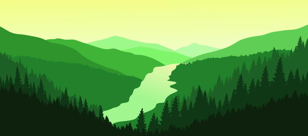 Illustartion - Green valley. credit: Tetiana Dziubanovska / Shutterstocl
