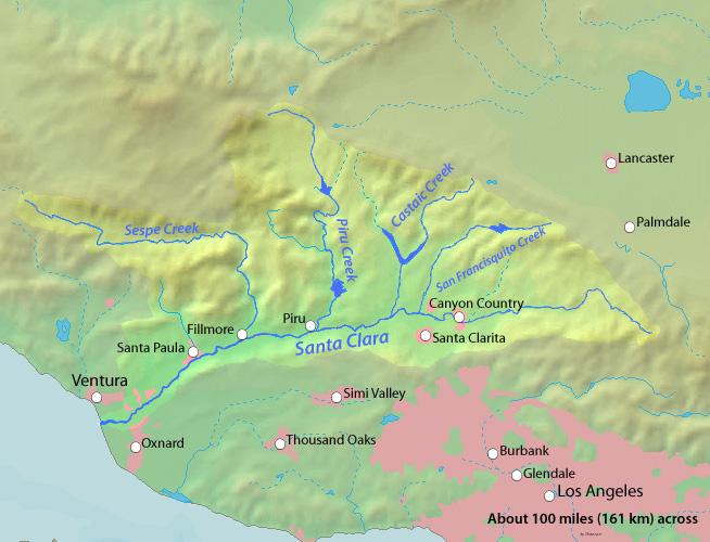 map of the Santa Clara river