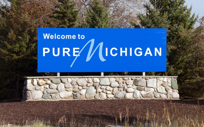 """Pure Michigan"" sign. Photo credit: Katherine Welles / Shutterstock"